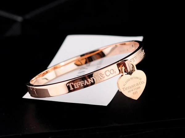 High Quality Celebrity design Silver beads bracelet Women Letter Heart-shaped Fashion metal Bracelets Jewelry Rose Gold With dust bag Box