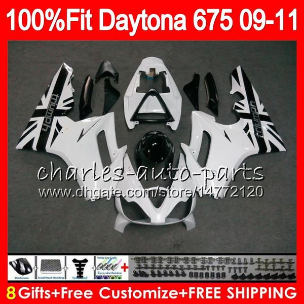 Injection For Triumph Bodywork White frame Daytona 675 2009 2010 2011 2012 107HM.82 Daytona 675 09 10 11 12 Daytona-675 Daytona675 Fairing