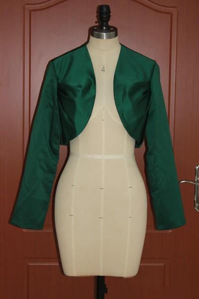 Dark Green Women's Wrap Shrugs Satin Wedding Party Elegant Modest Bolero Long Sleeve Mini Bridal Jacket High Quality