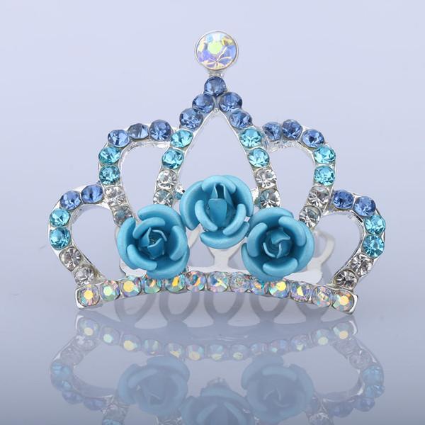 1 pc Beautiful Mini Tiara Rose Flower Crystal Rhinestone Princess Crown Hair Comb Children Kids Girls Small Hair Jewelry