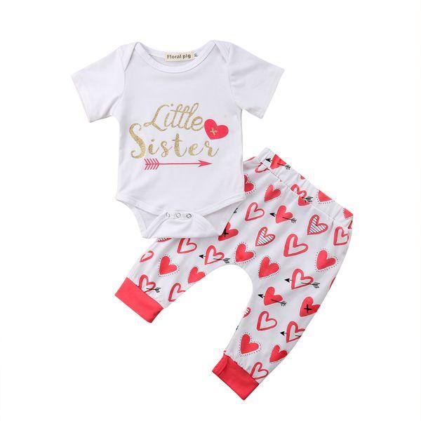 2 UNIDS Bebé Recién Nacido Niña Flecha Blanca Flecha de manga corta Body + Heart Pattern Pant Ropa Conjuntos 3-18M