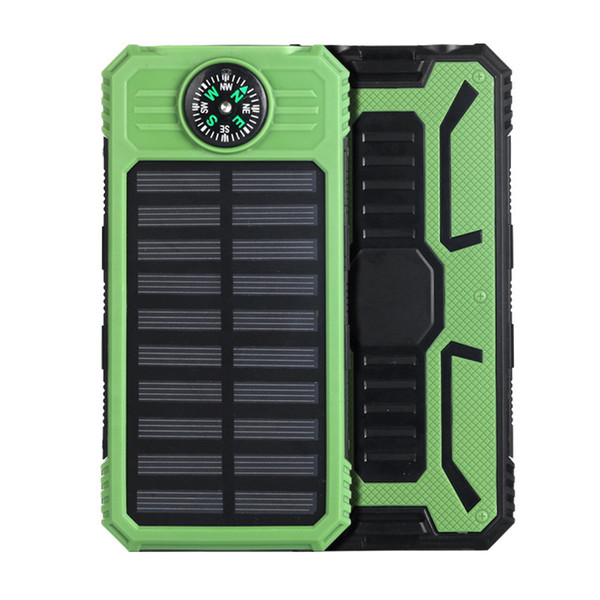 Waterproof compass solar charger 20000mah universal power bank with LEDs flashlight for Mobile Phones outdoor camping