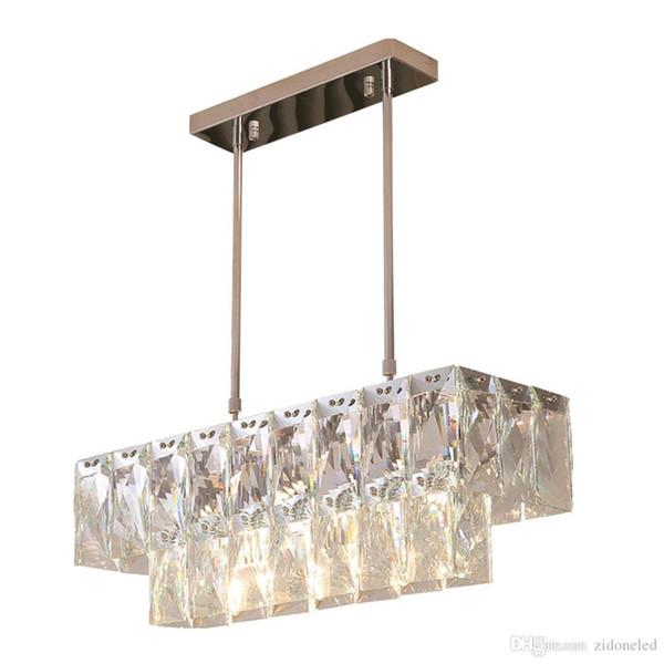 Modern Crystal Chandelier Rectangle Dining Room Lighting Fixtures Luxury Kitchen Island LED Lustres De Cristal pendant lamp