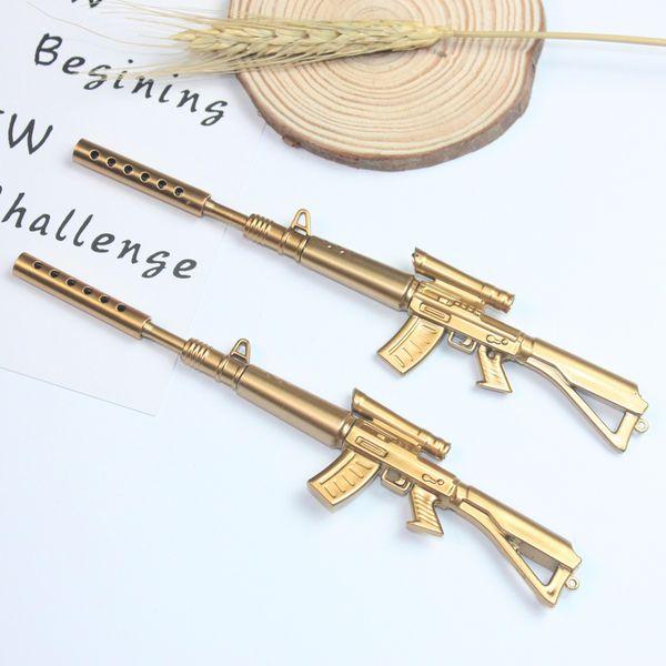 (1pcs/sell) 0.7mm Cute Kawaii Golden Machine Gun Ball Ballpoint Pens Ballpen For Office School Writing Supplies Stationery