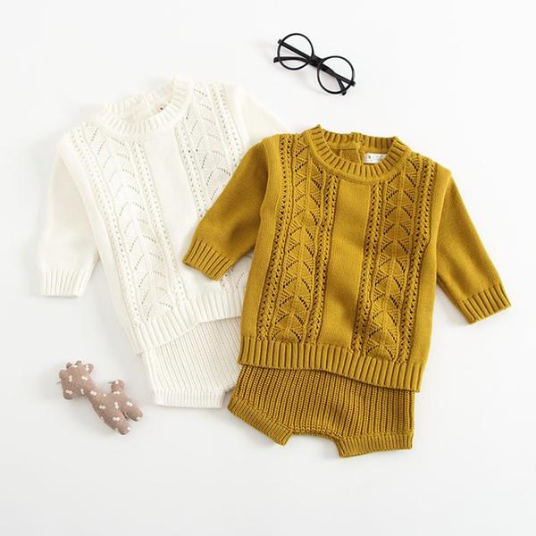 2019 neue Männer und Frauen Baby Baumwolle stricken Anzug langärmeligen hohlen Hemd Shorts zwei Pullover gesetzt
