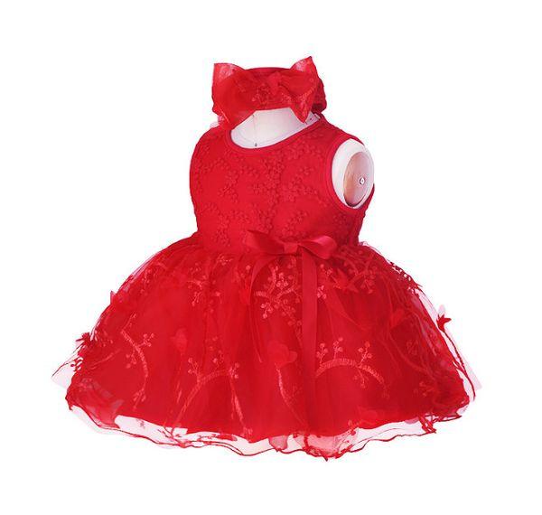 Newborn Baby Girls dress clothing 0-12M red/white/pink lace dresses Girls clothing dress+headband Baby 2pcs/set Clothing Infant suits