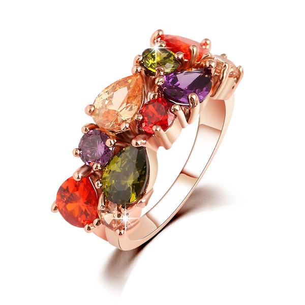 Ring for Women Diamond Engagement Cubic Zirconia Ring luxury Wholesale Jewellery Swarovski Wedding Ring Set 18K Rose Gold Gemstone Rings