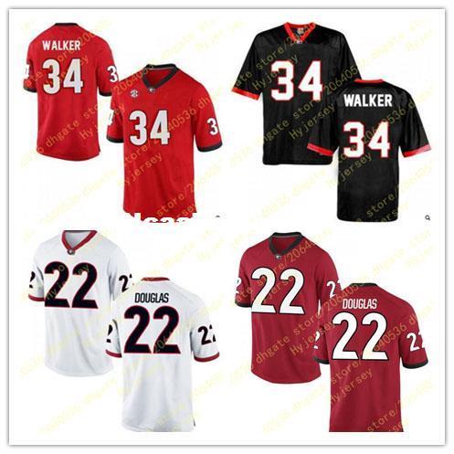 Billiger Mens 22 Brendan Douglas Jersey 34 Herschel Walker-Georgia-Bulldoggen-Alumni nähte rote weiße Fußball-Jerseys groß und hoch für Verkauf