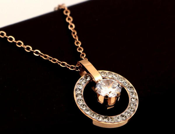 Europe and America super flash full diamond circle single diamond zircon rose gold necklace hipster personality mud drill clavicle chain