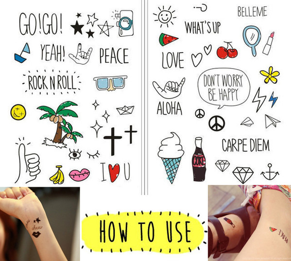 Hot Sale Harajuku Style Waterproof Temporary Tattoo Stickers Cute Pattern Cartoon Anime Funny Child Lady Hipster stickers G123Q