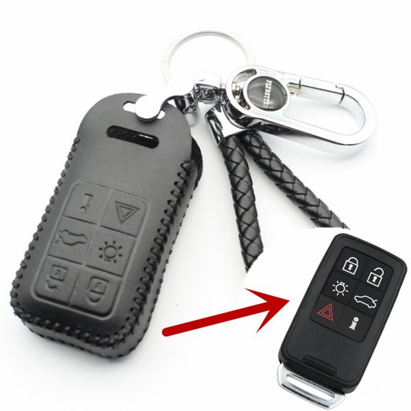 Натуральная кожа 6-кнопочный чехол для смарт-ключа для Volvo S60 / S80 / V60 / XC60 / XC70 Keyless Entry Стайлинг (B) L2003