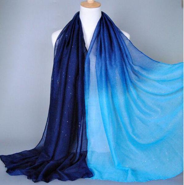 Ombre блеск принт оттенок цвет хлопок вискоза мерцание длинные шали глава пашмины весна хлопок хиджаб мусульманские шарфы градиент цвета шарф