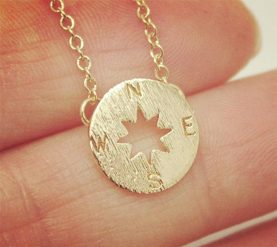 1pc compass small compass necklace pendant charm lady men south direction disc geometry round mascot totem necklace nautical coin jewelry