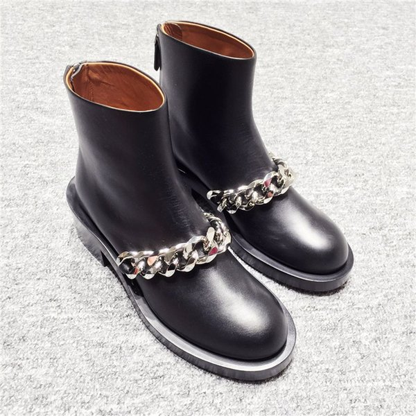 Black Motorcycle Boots Sliver Gold Chains Decoration Side Zip Women Shoes Fashion Military Ankle Boots Flats Botas Mujer