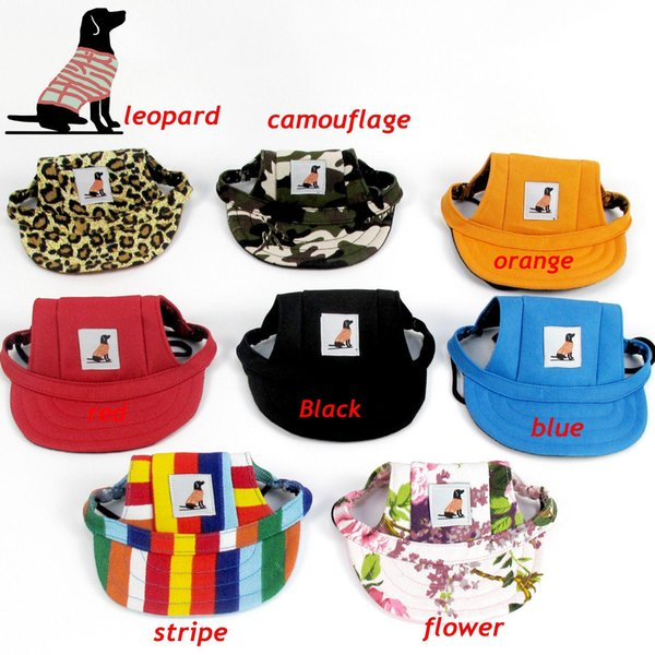 8 Colors Hot Sale Sun Hat With Ear Holes For Dogs Cute Pet Casual Summer Canvas Baseball Cap Chihuahua Yorkshire Pet Products