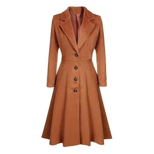 Fashion Women Single-breasted Windbreaker Lapel Slim Fit Long Trench Coat