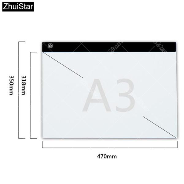 al por mayor A3! El cojín de la tableta de la luz LED de Dimmable Ultra Thin A3 se aplica a EU / UK / AU / US / USB Plug Diamante bordado Diamante punto de cruz de la pintura