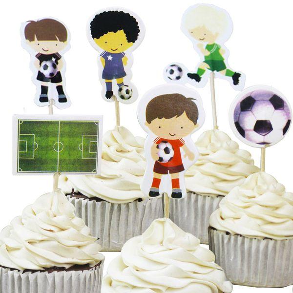 720pcs Cool Sports Football Boy world Cupcake Topper Picks Cartoon Theme Birthday Party Decorations Kids Evnent Party Favors