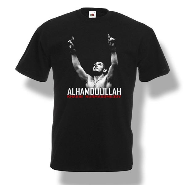 Khabib Nurmagomedov Alhamdulillah T-Shirt Lutador Homens Camisa Preta S-2XL 2018 moda camiseta 100% algodão