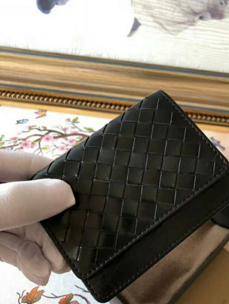 Business men changes wallet credit card holders real leather mini wallet kintting material Korean style crochet soft high class short casual