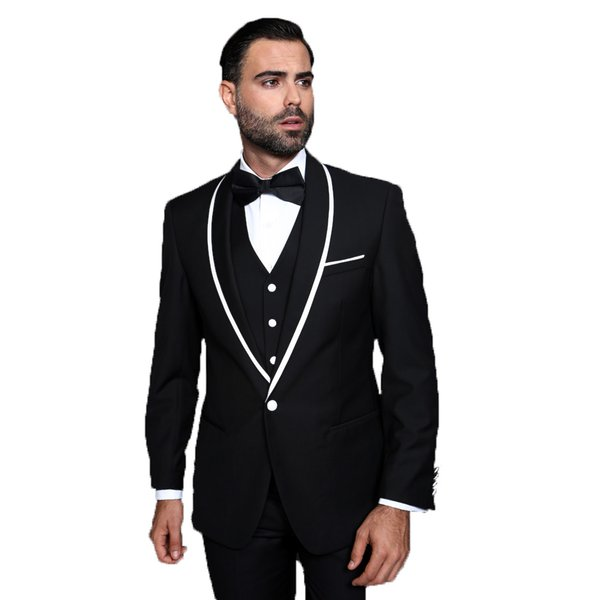 Black Groom Tuxedos Men Suits for Weding 3 Pieces One Button White Shawl Lapel Best Man Blazers Slim Fit Groomsmen Suits Bridegroom Wear