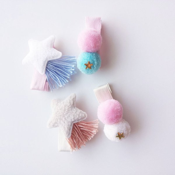 10sets Lot Non Slip Cotton Star With Tassels Hair Clips Pastel Color Pom Pom Barrettes For Kids Adorable Pink Girls Gift Hairpin