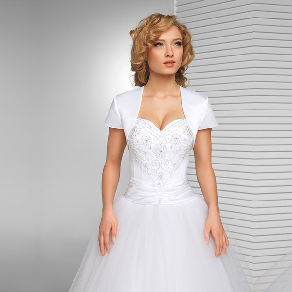 New Arrival White Bridal jacket Wedding Satin Shrug Bolero Cap Sleeve Custom Made Bridal Jacket Custom made wedding coat 2018