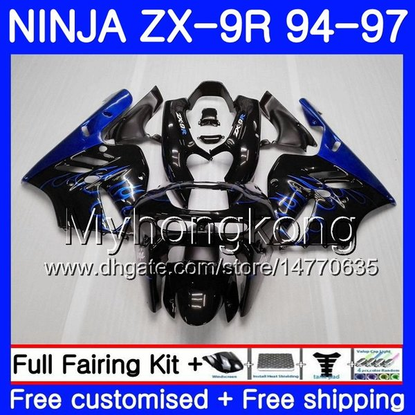 Body For KAWASAKI NINJA ZX900 ZX9R 94 95 96 97 221HM.14 ZX 9R 94 97 ZX 9 R 900 900CC Blue flames hot ZX-9R 1994 1995 1996 1997 Fairing kit