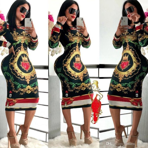 2019 Autumn Long Sleeve O-neck Poker playing cards Vintage Chain Print Dresses women sexy Bandage nightclub Midi dress