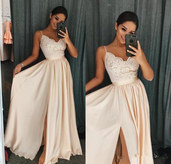 2018 Junior Bridesmaid Dresses Champagne Prom Dresses A Line Spaghetti Floor Length Evening Gowns With Applique Satin Split Party Gowns 45
