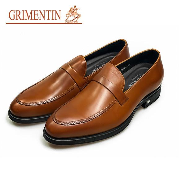 GRIMENTIN Fashion Italian designer formal mens dress shoes genuine leather orange mens oxfords luxury brand wedding male shoes office S31
