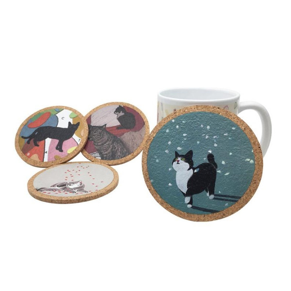 Cute Cartoon Cat Cup Mat Cork Coaster Slip Insulation Pad Placemat Mug Cushion Table Decoration Party Favor Souvenirs ZA6498