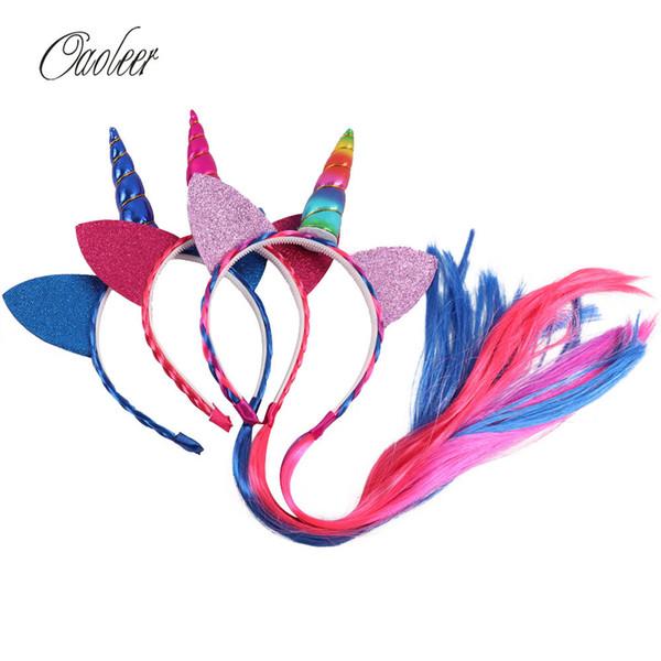 Rainbow Color Ponytail Unicorn Headbands With Glitter Ears For Kids Girls Princess Braid Wig Teeth Hairbands Hair Accessories