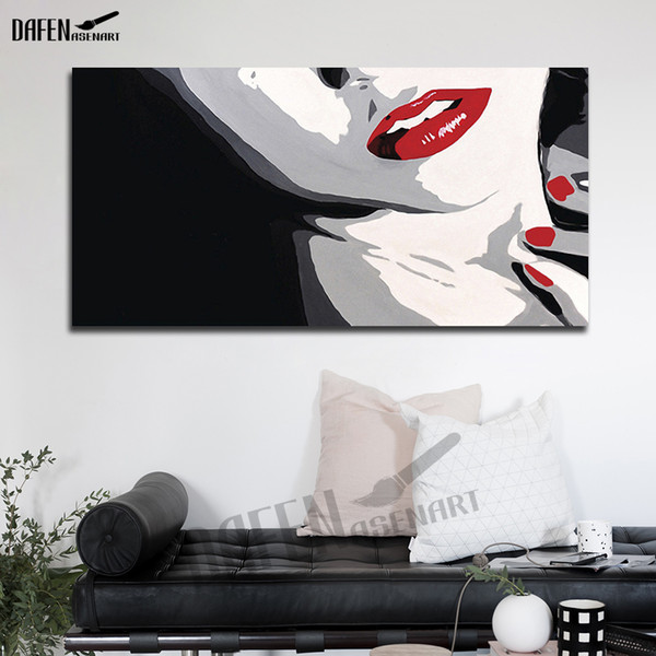 Red Lip Girl Hand painted Oil Painting on Canvas Palette Knife Figure Picture for Dinning Room Home Bar Cafe home Decor Art