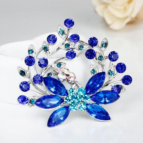 Wholesale- cheap New Fashion Gift Fashion Alloy Brooch Silver Flower Crystal Jewelry Rhinestone Brooches Women For Wedding