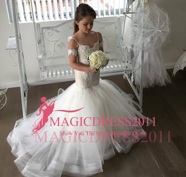 Envío gratis Princesa Barato encantador de la sirena Spagetti Correa Vestidos de niña de flores Niño pequeño largo bonito vestido de primera comunión