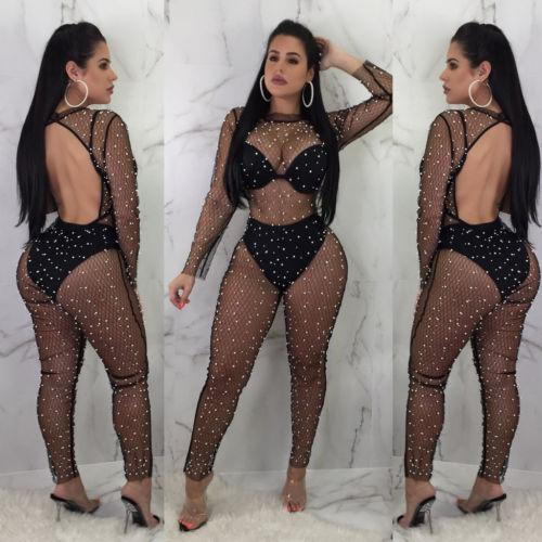 New Sexy Hollow Pearl Jumpsuit Women Long Sleeves See Through Backless Mesh Sheer Beaded Bodycon Club Party Casual Long Jumpsuit
