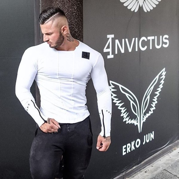 Brand Men Fashion T Shirt Spring Summer Slim Shirts Male Tops Leisure Bodybuilding Long Sleeve Personality Tees Clothing