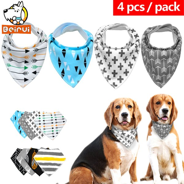 4pcs Dog Bandana Cats Dogs Scarf Bib Cotton Pet Grooming Accessories Bandage Collar For Small Medium Pet Chihuahua