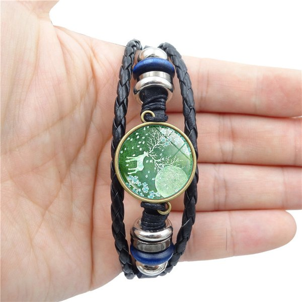 New Limited 2018 Simple Fashion Elk Time Gem Bracelet High Quality Leather Multiple Layers Of Woven Beads Jewelry Accessories