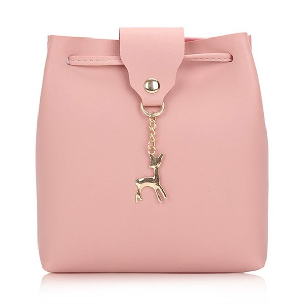 Hot Deer Pendant Women Handbag Lady Sweet Solid Bucket Drawstring PU Leather Shoulder Bag 5 Colors For Women