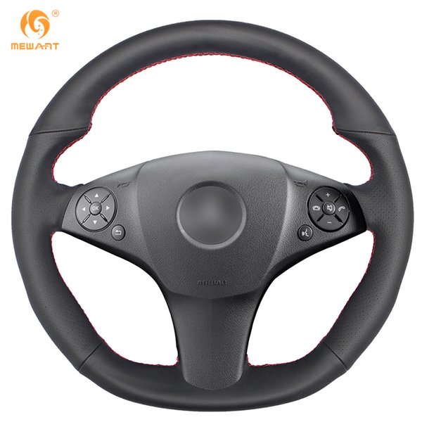 MEWANT Black Genuine Leather Car Steering Wheel Cover for Mercedes Benz SLR-Class 2009 SL-CLass AMG 63 65 2009-2012 SLK-Class AMG 55
