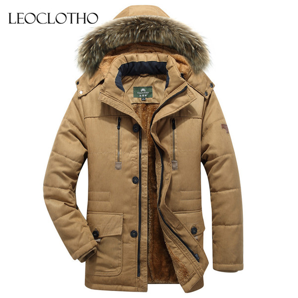 LEOCLOTHO Parka Men 2018 Fashion Stand Collar Male Parka winter coat men mens fur jackets
