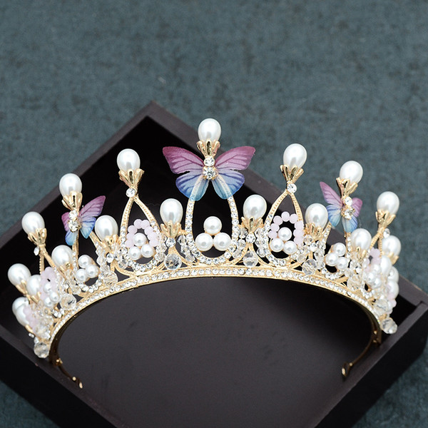 Bridal jewelry butterfly gold children's crown wedding wedding dress accessories handmade crystal beads tiara headband