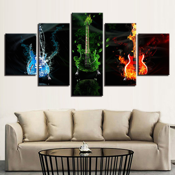 Home Decoration Canvas Painting 5 Pieces Abstract Music Guitars Oil Painting Unframed Canvas Art HD Print Wall Picture Popular Gift
