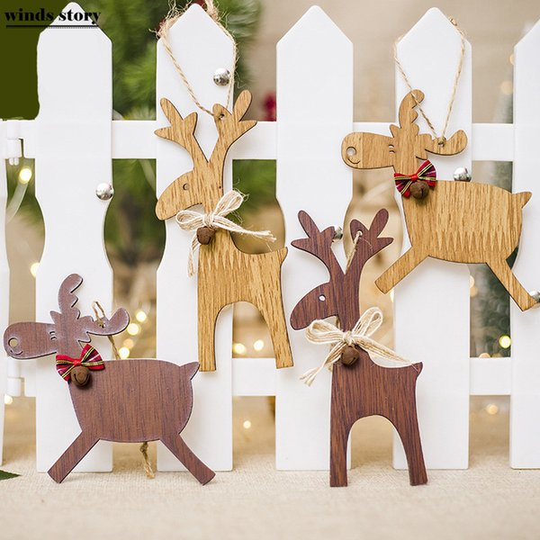 4pcs Reindeer Christmas Tree Decorations Hanging Wooden Ornaments Party Christmas Decorations For Home Xmas 3D Pendants Navidad Y18102609