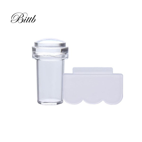 Bittb Nail Art Stamper Set Pure Clear Jelly Silicone Stamping Plate Scraper Transparent Nail Stamp Manicure Tools