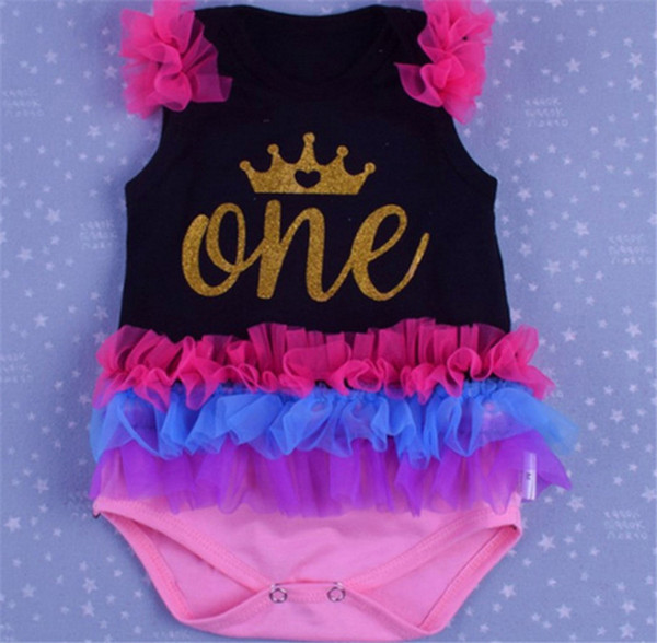 Ins Unicorn Birthday Infant Rompers Baby Clothes Sleeveless Infant Toddler Lace Princess Tutu Ruffles Jumpsuits Valentine day print Bodysuit
