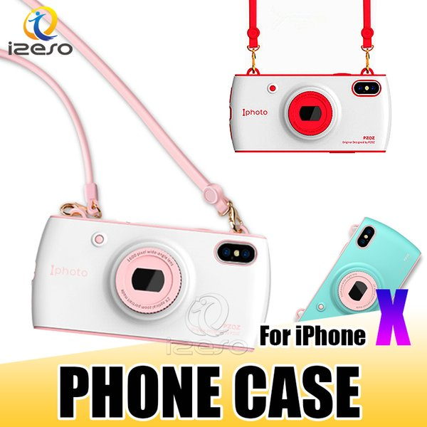 Stylish Handbag Cell Phone Case Fashion Camera Design with Lanyard Girl Phone Cover Shell for Apple iPhone X 8 7 6 Plus