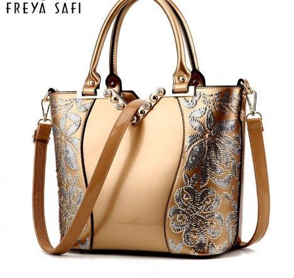 2018 Sequin Embroidery Women Bag Patent Leather Handbag Diamond Shoulder Messenger Bags Famous Brand Designer 2018 Freya Safi